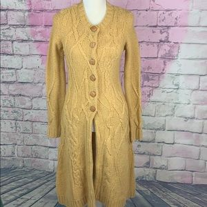 Anthro Far Away From Close Cable Knit Cardigan XS